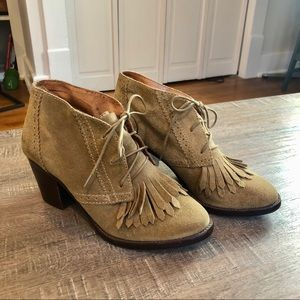 Madewell 1967 fringe suede booties